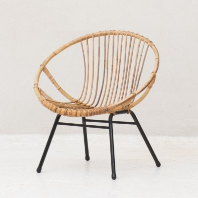 Rattan side chair by Rohé Noordwolde, Netherlands 1950's
