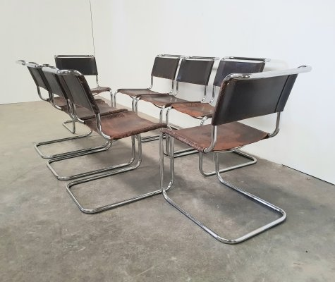 Set of 8 brown S33 chairs in metal & leather by Mart Stam for Thonet, 1960s