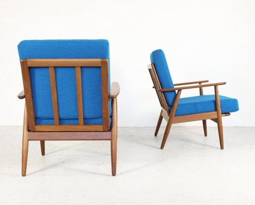 Midcentury Danish pair of easy chairs in teak & oak, 1960s