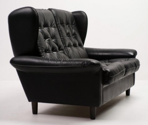 Danish Architectural high back leather sofa