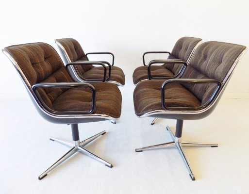 Set of 4 Charles Pollock chairs for Knoll International, 1960s