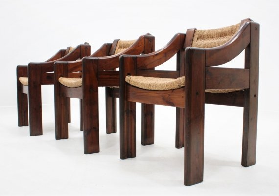 Set of 6 italian design dining chairs by Montina, 1970s