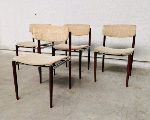 Set of 4 Dutch Design Chrome & Rosewood Dining Chairs, 1960s