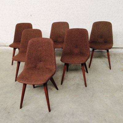 Set of 6 Scandinavian Design Rosewood & Woven wool dining chairs, 1960s