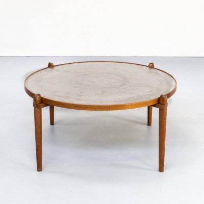 1960s Teak & Etched Metal Coffee Table by Heinz Lilienthal
