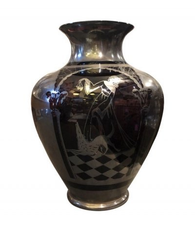 Art Deco Sterling Silver & Purple Glass Italian Vase, circa 1930