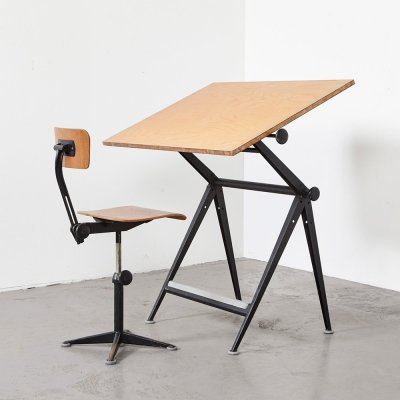 Friso Kramer & Wim Rietveld Drafting Table + Working Chair for Ahrend de Cirkel