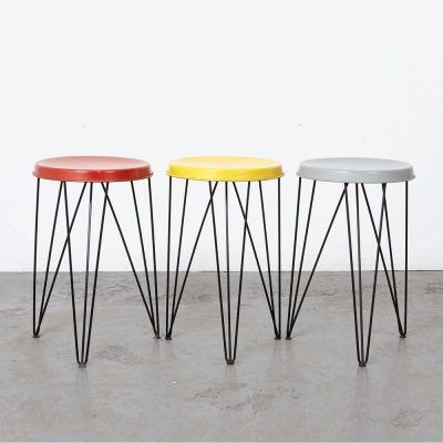 Set of 3 Stools by Tjerk Reijenga for Pilastro, 1950s