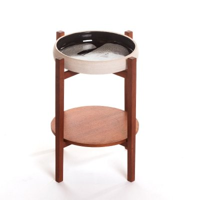 Vintage Danish teak plantstand with ceramic bowl, 1960's