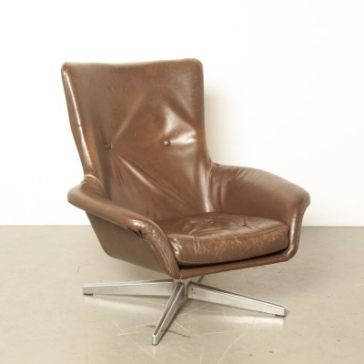 Brown Leather Armchair, 1960s