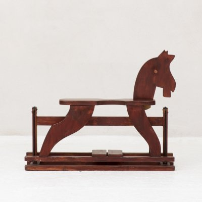 Kids rocking horse in solid wood, 1960s