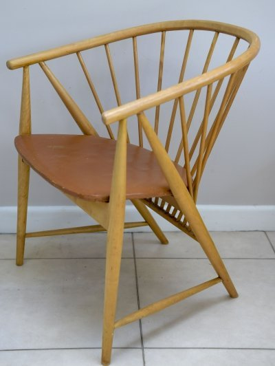 Mid-century sun feather spindle chair by Sonna Rosen for Nässjö Stolfabrik, 1948