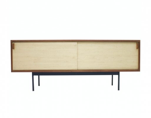 Teak B20 Sideboard with Sea Grass Sliding Doors by Dieter Waeckerlin for Behr, 1950s