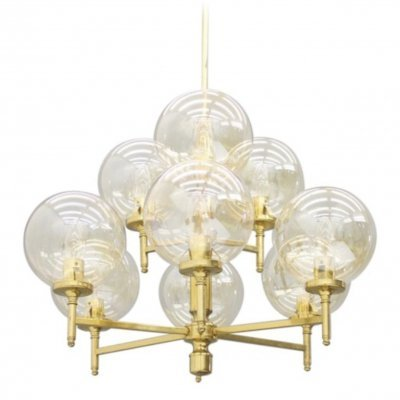 Pendant made of Brass with nine Glass Globes, 1960s