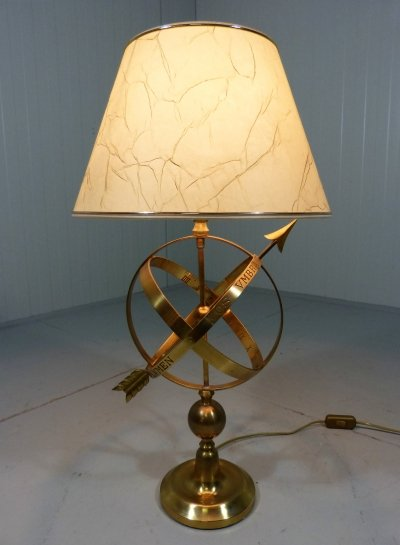 Brass table lamp in sundial design, 1970's