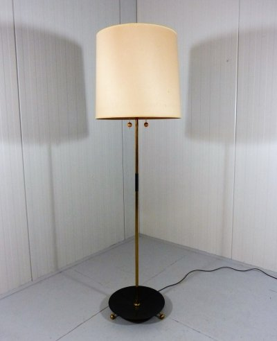 Extra large adjustable floor lamp in brass & black, 1950's