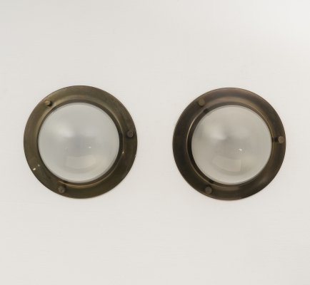 Pair of 'Tommy' brushed brass ceiling lights by Luigi Caccia Dominioni for Azucena
