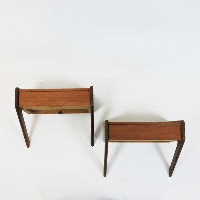 Pair of Danish Teak & Oak Nightstand from Ølholm Møbelfabrik, 1960s