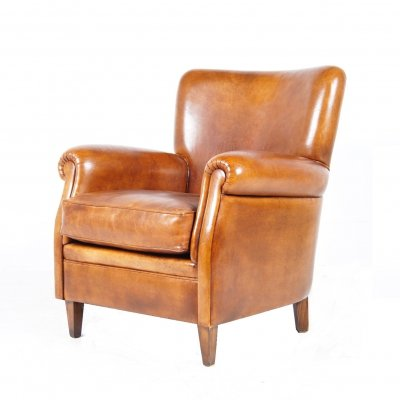 Vintage Dutch Cognac-Colored Leather Club Chair, 1970s