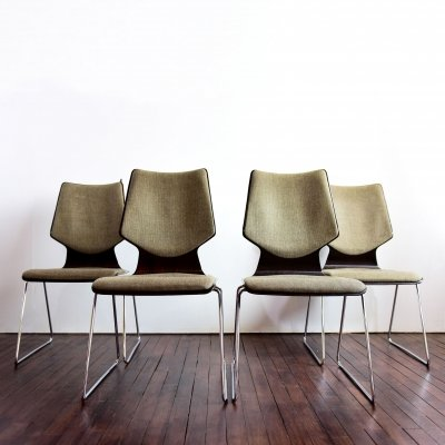 Set of 4 Obo chairs in pagwood by Casala, 1970s