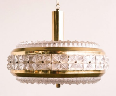 Carl Fagerlund chrystal & brass chandelier for Orrefors