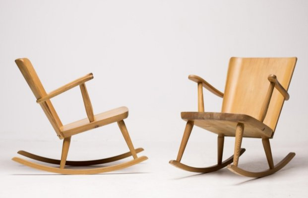 Göran Malmvall pine rocking chairs for Svensk Fur