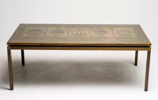 Danish coffee table with embossed copper inlaid, 1960's