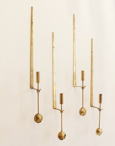 Two Pair Of Brass Wall Candle Holders By Pierre Forsell For Skultuna
