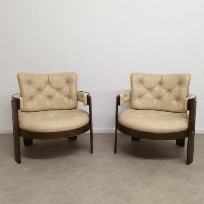 Set of 2 round armchairs, 1970s
