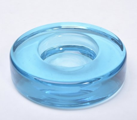 Vintage circular ashtray made of blue Glass by Holmegaard