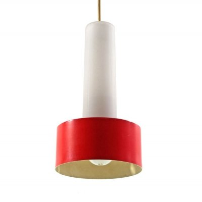 Philips Louis Kalff Mid century red & white hanging lamp