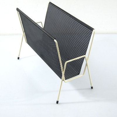 1950s Pilastro white & black magazine rack