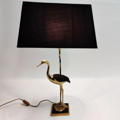 Vintage brass crane bird table lamp, 1960s