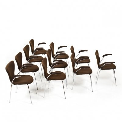 Set of 10 old Arne Jacobsen mod. 3207 / 'Series 7' Chairs by Fritz Hansen