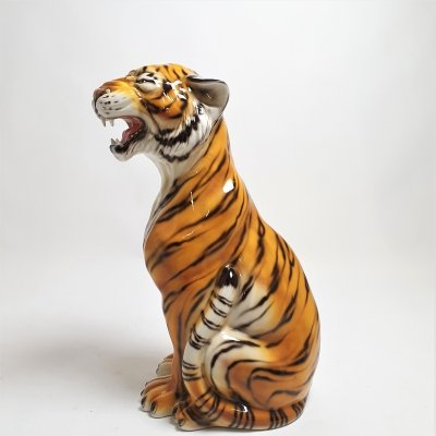 Large Hand Painted ceramic Tiger, italy 1970s