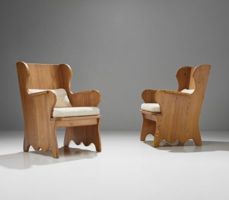 Axel Einar Hjorth Pair of 'Lovö' Armchairs, Sweden 1930s