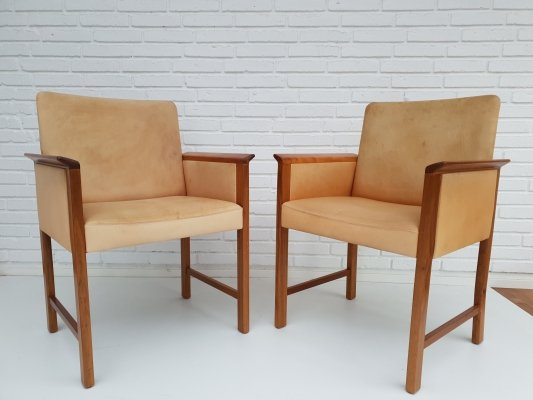 Pair of leather & teak conference chairs by Hans Olsen, 1960s