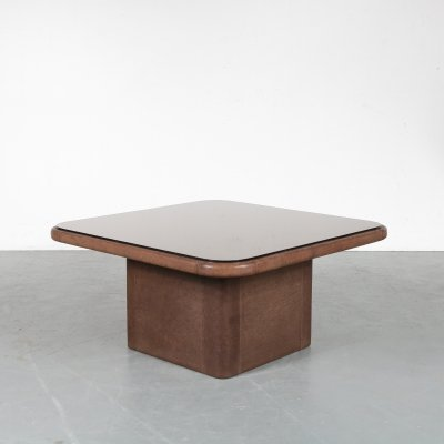 Square leather coffee table by De Sede, Switzerland 1970s
