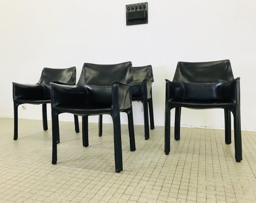 Set of 4 Cassina CAB 413 black leather armchairs by Mario Bellini, 1980s