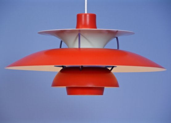 PH5 pendant in red by Poul Henningsen for Louis Poulsen, 1970s