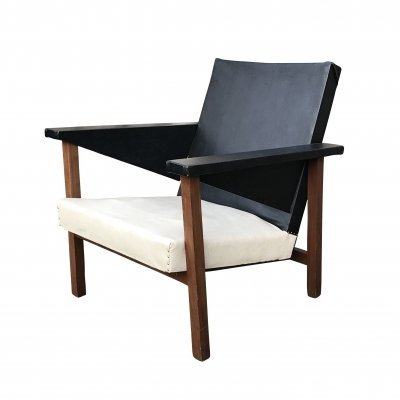 Teak Modernist armchair by J.R. Bouten commissioned for Philips building, 1940s