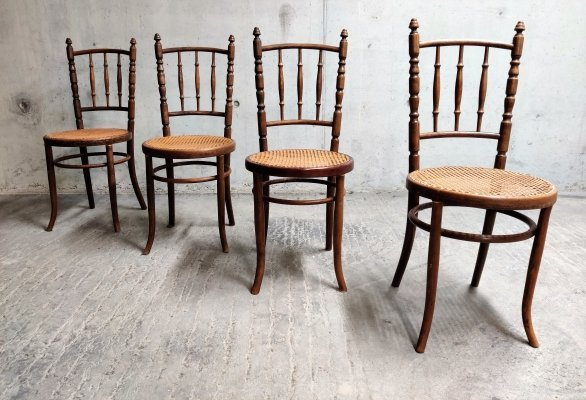 Set of 4 Bentwood Chairs by Jacob & Josef Kohn, Austria 1930's
