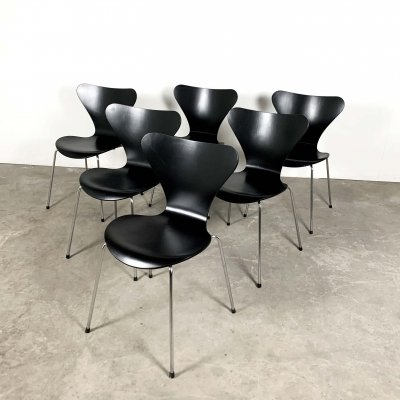 Set of 6 3107 Butterfly Chairs by Arne Jacobsen for Fritz Hansen, 1960s