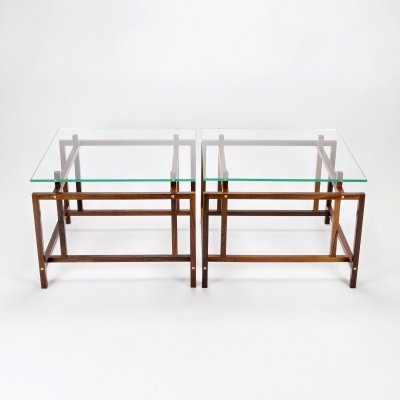 Pair of Rosewood & Glass Side Tables by Henning Nørgaard by Komfort, Denmark 1960s