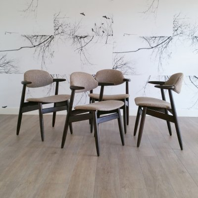 Set of 4 Cow Horn Dining Chairs by Tijsseling for Hulmefa, 1960s