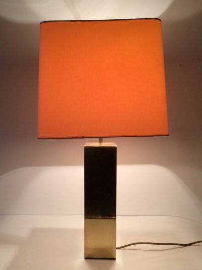 Large Brass square Table Lamp by Belgo Chrom, 1970's