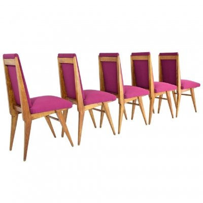 Set of 5 French Art Deco Dining Chairs, 1940s