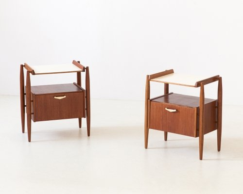 Pair of Italian Teak & brass Bedside Tables, 1950s