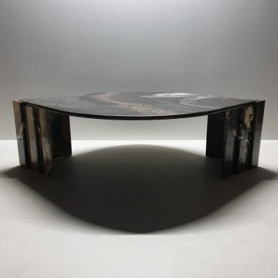 Italian marble eye shaped coffee table, 1970s