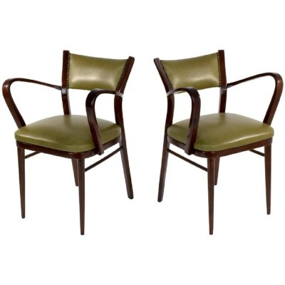 Pair of 20th Century Italian Art Deco Chairs, 1940s